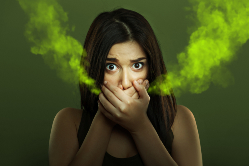 woman with bad breath